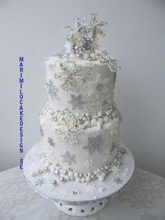 Vinterbröllop, bröllopstårta i vit och silver