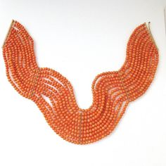 """Antique Victorian 18K Natural Coral Beads Choker Necklace 10 Strands, 13.5"""" x 2"""" #Choker"""