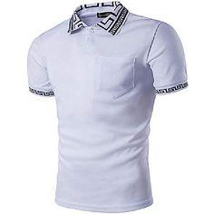 Simple Shirts, Casual Shirts, Casual Tops, Slim Fit Polo, Polo Shirt White, Golf Shirts, Bleu Marine, Look Fashion, Fashion Men