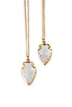 Crystal Quartz Arrowhead Necklace - Petite