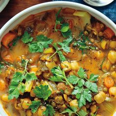 Spiced Moroccan Vegetable Soup with Chickpeas, Cilantro, and Lemon (*Harira*)