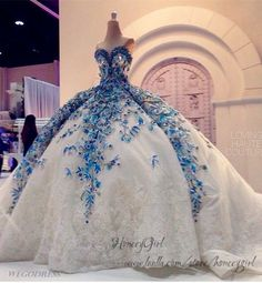 Wedding Dress,Big Ball Gown Wedding Dress,Luxurious Wedding Dress,Lace Wedding Dress,Blue Bride Dres on Luulla