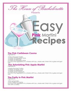 FREE Bachelorette Party Martini Recipes   The House of Bachelorette - The Ultimate Bachelorette Party Supplies Store