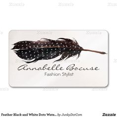 Feather Black and White Dots Watercolor Double-Sided Standard Business Cards (Pack Of 100) - March 4