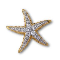 A stylised starfish brooch by René Boivin, set to the front with lines of circular-cut diamonds within platinum settings, to the sides with collet-set rose-cut diamonds in textured yellow gold, circa 1938, French assay marks for 18ct gold and platinum, partial French maker's mark. Accompanied by a certificate of authenticity from Francoise Cailles.