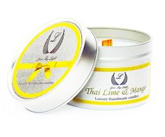 These Luxury handmade Thai Lime & Mango scented tin candles are a beautiful gift for her or just for you :)  Our Thai Lime & Mango scented soy candles captures the aroma of fresh mango perfectly with under tones of Lime. Beautiful scent.  Our scented tin candles hold 100 g of soy wax and will burn for up to 25 hours with an amazing scent throw. All our tin candles come with a wood wick which crackles sightly when lit to give you a lovely relaxing sound.  All our container candles are…