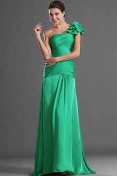 osell wholesale dropship chiffon pleated one shoulder sleeveless brush train a line evening prom dress $84.18