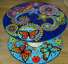 """Mosaic coffee table """"the enchanted garden"""": Furniture and storage by caromosa . Mosaic Tile Table, Pebble Mosaic Tile, Mosaic Coffee Table, Mosaic Wall Art, Mosaic Diy, Mosaic Garden, Mosaic Crafts, Mosaic Glass, Diy Art Projects"""