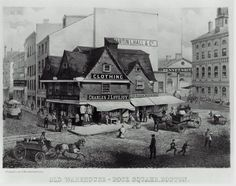 Old Warehouse, Dock Square, Boston. 1858–60. Alfred K. Kipps, English, 1860s. Printed by: Louis Prang & Company, American, active 1860–1897. Chromolithograph on paper. Museum of Fine Arts, Boston Date1860