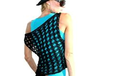 Black Hand Knit Top  Cotton Tank Top  Lace Knit by SaensiItalia, €50.00