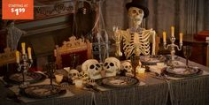 Find Halloween decorations for your party or yard. Shop for scary outdoor decorations, kid-friendly decorations, and complete Halloween party supplies. Photo Halloween, Table Halloween, Halloween Vintage, Casa Halloween, Halloween Skeleton Decorations, Haunted House Decorations, Haunted House Props, Halloween Party Supplies, Halloween Skeletons