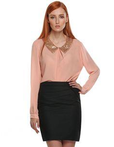 Zeagoo Stylish Ladies Elegant Women Casual Long Sleeve Sequin Neck Solid Loose Chiffon Blouse Shirt Tops