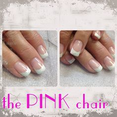Cute French nail design with just a hint of mint and Glitter. Young Nails Synergy Gels were used for modeling glitter from Mosaic Gel Paints Cameleon Gel Candy Mint for accent. Simple classic design is always popar. Find me on Facebook. The Pink Chair Salon follow me on IG @ thepinkchair