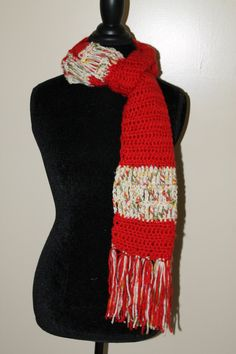 Women's Red/Multi colored scarf with fringe by OffTheHookByChrissy on Etsy
