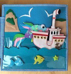 Представляю вашему вниманию развивающую книжку о море. Перед нами приморский городок. Лодка на песке. У берега покачивается парусник (фигурка парусника съёмная, на кнопке). Вдали к берегу подплывает ещё один кораблик. Видите, там, где дома, гуляют жители городка. Пофантазируйте,... Quiet Book Patterns, Quilt Patterns, Book Libros, Baby Gifts To Make, Felt Kids, Baby Quiet Book, Sensory Book, Fidget Blankets, Felt Quiet Books
