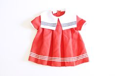 Vintage Red, White and Blue Nautical Dress for Toddler Girl 2T. $12.00, via Etsy.