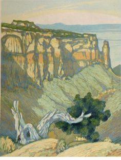 Leon Loughridge, Colorado National Monument, Woodblock print, 12 x 9 in. At the Gerald Peters Gallery, Santa Fe.