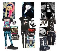 """Scene girl vs emo vs goth"" by anna-fuentes-sykes ❤ liked on Polyvore featuring мода, Disturbia, Punky Pins и Converse"