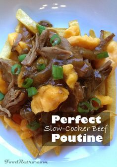 This perfect for watching the game Crockpot Beef Poutine recipe is slow-cooked chuck pot roast shredded and piled on top of crispy french fries, with oozy cheddar cheese curds and a savoury homemade brown gravy that comes right from the pot.
