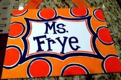 Customized Hand-Painted Classroom Teacher Name Sign