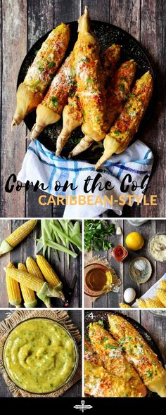 Roasted corn on the cob coated w/ homemade aioli, paprika, Parmesan cheese and parsley, this Caribbean-style corn will change the way you eat corn forever. Carribean Food, Caribbean Recipes, Carribean Party, Grilled Fruit, Grilled Vegetables, Vegetarian Recipes, Cooking Recipes, Healthy Recipes, Healthy Food