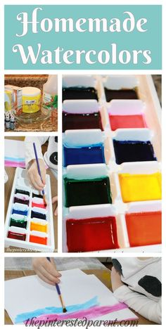 Homemade watercolor paints - the interested parent DIY homemade watercolor paints. Easy to prepare with simple ingredients from your kitchen Tree Watercolor Painting, Watercolor Paintings For Beginners, Watercolor Disney, Watercolor Fish, Diy Painting, Painting Tutorials, Abstract Paintings, Orange Painting, Painting Trees