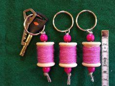 Avaimenperä lankarulla pinkki / Keychain wooden spool pink | Etsy Wooden Spools, Wooden Beads, Stitch Markers, Key Rings, Reindeer, Craft Supplies, My Etsy Shop, Personalized Items, Unique Jewelry
