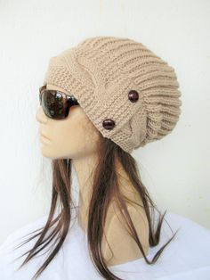 Slouchy hat Women Knit Hat Slouchy Beanie Winter Hat Knit Winter Accessories Gift Camel Over sized Hat Chunky Knit Fashion Knitted Hats, Crochet Hats, England Fashion, Winter Hats For Women, Scarf Hat, Slouchy Beanie, Knit Fashion, Winter Accessories, Girlfriend Gift