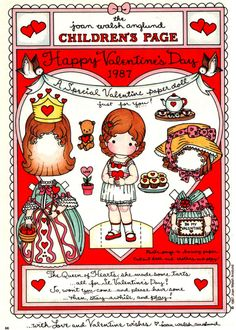 FREE Printable Valentine Paper Dolls by Joan Walsh Anglund Vintage Valentines, Funny Valentine, Happy Valentines Day, Printable Valentine, Free Printable, Printable Vintage, Valentines Art, Joan Walsh, Paper Art