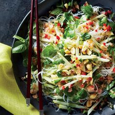 Glass Noodles with Green Papaya, Peanuts, and Chili Vinaigrette Recipe