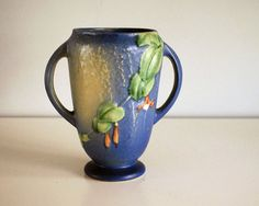 1930s Roseville Art Pottery Fuschia Vase Blue by CalloohCallay