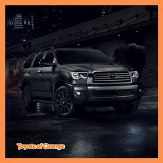 """""""Stylish"""" doesn't even begin to describe the new 2020 Sequoia Nightshade. It has intense black wheels, accents, and badging to match! Toyota Emblem, 2019 Rav4, Toyota Usa, Corolla Hatchback, Black Wheels, Black Exterior, Trd, Automatic Transmission, Southern California"""