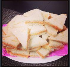 Sandwichitos de mezcla.  Puerto Rican spread sandwiches.