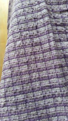 Purples check cotton seersucker 85cm x 0.5 metre left JL