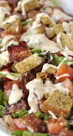 BLT Salad + Maple-Mustard Dressing. Lettuce, red onion, tomatoes, croutons, bacon, brown sugar, paprika, pepper
