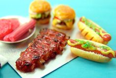 Miniature Food Polymer Clay Meats Rack of Ribs and Grill Meats by mousemarket, $28.65