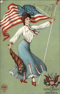 Mormor studied both the English language and US History and was proud to become a naturalized citizen.  c1910 postcard, woman with flag