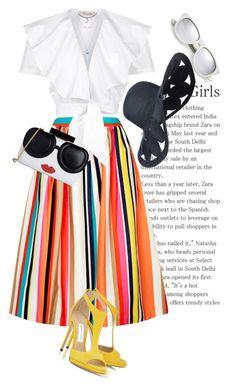 """Stripes..."" by unamiradaatuarmario on Polyvore featuring moda, Yves Saint Laurent, Alice + Olivia y Temperley London"