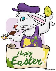 Cute Cartoon Bunny Painting his Easter Egg