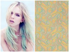 Pastel hair that coordinates with prints from the 1960s book,  Paisley Prints.