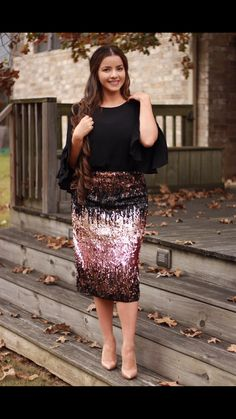 You asked for sequined and we found one! This is not cheap quality! Beautiful, heavy weighted skirt available in XS-M. Large already sold out!! These run big in my opinion so please check measurements.