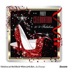 Fabulous 50 Red Black White 50th Birthday Party 2 Invitation