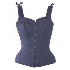 e26c21f706 Navy Dark Victorian Cotton Overbust With Court Neckline - US2. Corset Story  US