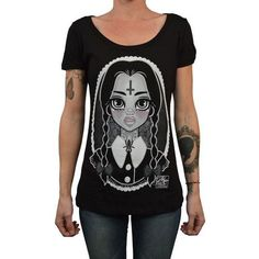 Wednesday Addams Family by Miss Cherry Martini Women's Tee Shirt