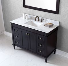 Virtu USA Tiffany 48 inch Single Sink Espresso Vanity with Carrara White Marble Countertop with Backsplash - Overstock™ Shopping - Great Deals on VIRTU Bathroom Vanities Small Bathroom Vanities, Double Sink Bathroom, White Vanity Bathroom, Marble Vanity Tops, Bathroom Vanity Cabinets, Bath Vanities, 48 Vanity, Bathrooms, Double Vanity