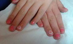 CND Shellac Tropix & Studio White with Sizzling Sand glitter,  hand painted flowers & rhinestones