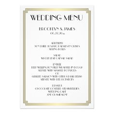 Great Gatsby Art Deco White Gold Wedding Menu 5x7 Paper Invitation Card