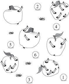 Spočítej červíky v každém jablíčku a spoj je se správným číslem. Teaching Resources, Worksheets, Kindergarten, Education, Fruit, Autumn, Apples, Crafting, Kindergartens