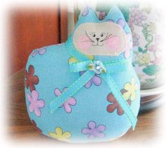 Cat Pillow Doll Cloth Doll 7 inch Bright by CharlotteStyle on Etsy, $14.00