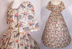Victorian Floral Cherry Blossom Print Wool Challis Hoop Skirt Dress